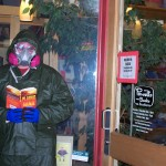 Super Fan Brian C. stalks his local Powell's in Portland, Oregon the night before the release of Plague Zone.